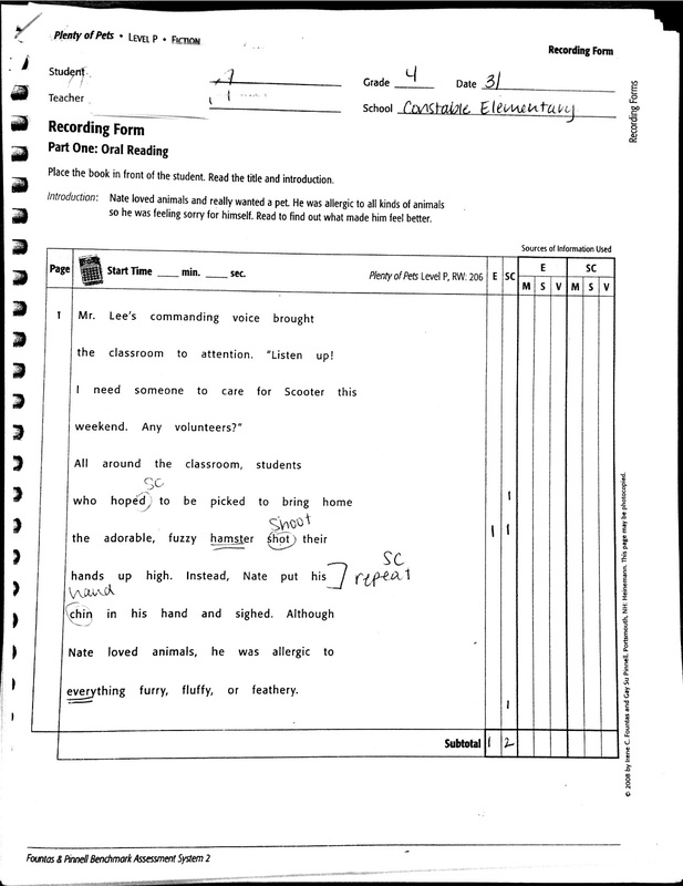 Phil Iri ~ Miscue Analysis Form Template